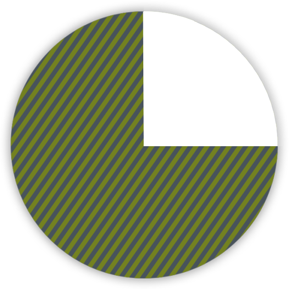 pie chart of 75 percent